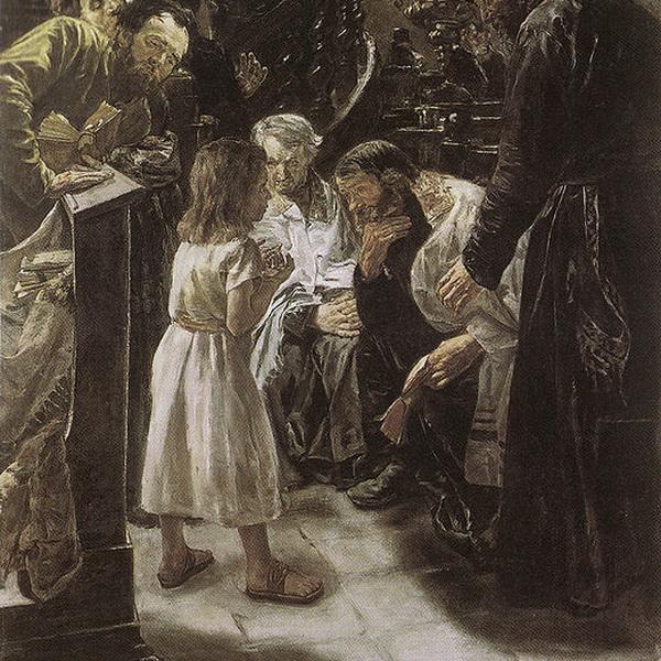 Max Liebermann_Der zwölfjährige Jesus im Tempel, 1879; Bildquelle: Wikipedia