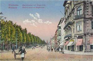 Historische Postkarte Wiesbaden - Blick auf Ringkirche