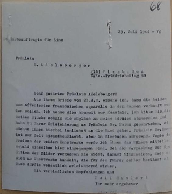 Bestätigungsschreiben des Sonderbeauftragten für Linz vom 29.07.1944 über Adelsbergers Angebot zweier französischer Aquarelle für den Führer (Quelle: BA Koblenz B 323/129