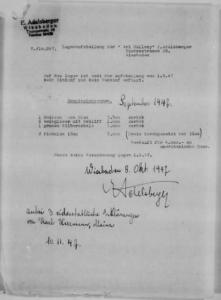 """Bestätigung Adelsbergers über den Verkauf von Kunstwerken an eine """"amerikanische Dame"""", vom 08.10.1947 (Quelle: NARA)"""