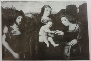 Werkstatt des Marco Basaiti (1460-nach 1520): Madonna mit dem Kind und zwei Heiligen, Holz, 66,5 x 93,5 com