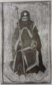 Spanischer Meister der ersten Hälfte des 15. Jahrhunderts: Der Heilige Jakobus als Pilger, Holz, 166,5 x 95,5 cm