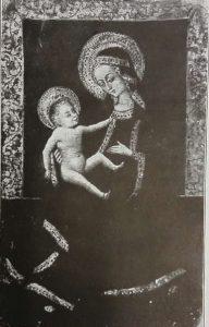 Sienesischer Meister: Madonna mi dem Kinde, Holz, 36 x 23 cm, um 1350