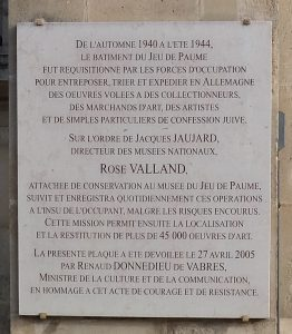 Memorial for Rose Valland at the building of the Jeu de Paume, Paris
