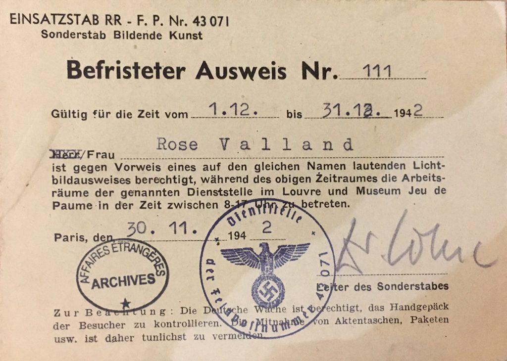 Mitarbeiterausweis von Rose Valland aus dem Jahre 1942